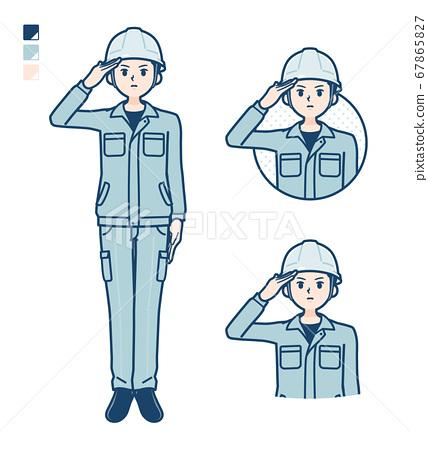 simple work wear Construction site man_salute 67865827
