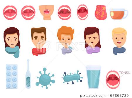 Tonsillitis icons set, cartoon style 67868789