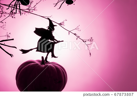 Witch flies on the Sabbath. Creative trendy Halloween background with a flying witch silhouette and spiders a pink neon gradient light background 67873807