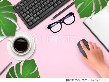 Office background with coffee, notebook, glasses 67876908