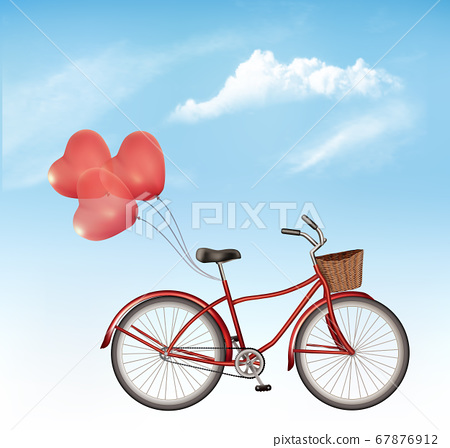 Bicycle with red heart shaped balloons in front of 67876912