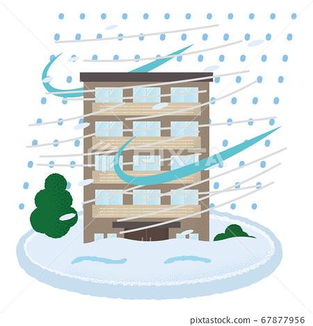 遭受暴風雪的豪宅的矢量圖 67877956