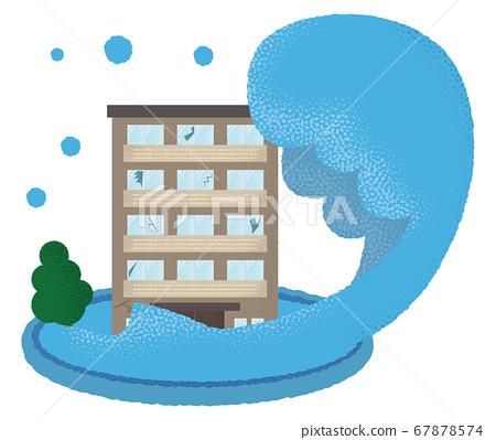 遭受洪水破壞的豪宅的矢量圖 67878574