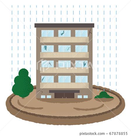 遭受洪水破壞的豪宅的矢量圖 67878855