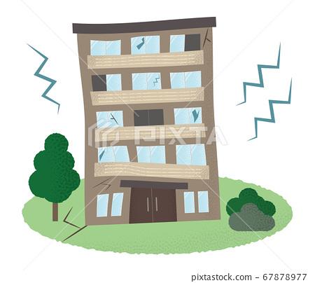 遭受地震的公寓的矢量圖 67878977