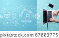 Smart industry concept with person working with laptop 67883775