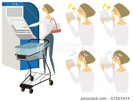 在ATM機上購物的女人 67885934