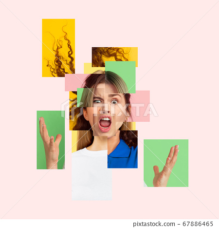 Surreal portrait of woman made of different pieces of photos. Art collage. 67886465