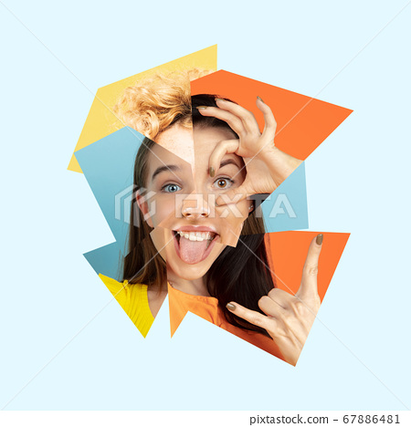 Surreal portrait of woman made of different pieces of photos. Art collage. 67886481