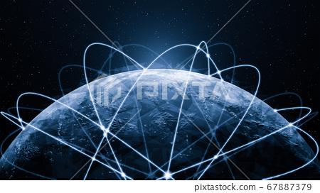 3D illustration global modern creative communication and internet network map 67887379