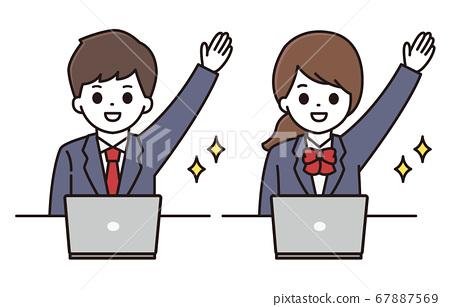 Male student Female student Computer illustration 67887569