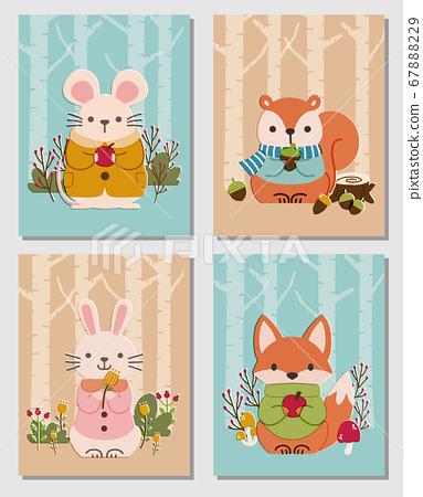 귀여운 숲 동물들의 카드 세트 67888229