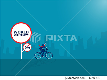 businessman drive bicycle with World car free day vector illustration.  67890269