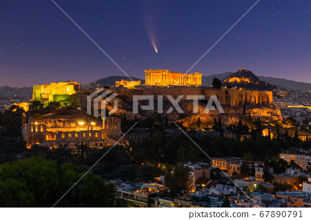 Comet Neowise C/2020 F3 at sunet over the Acropolis, Athens, Greece. 67890791