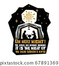 Christian typography, lettering and illustration. O holy night! The stars are brighly shining 67891369