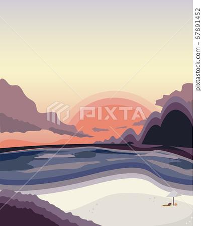 日落海灘的插圖假期的日落圖像素材矢量 67891452