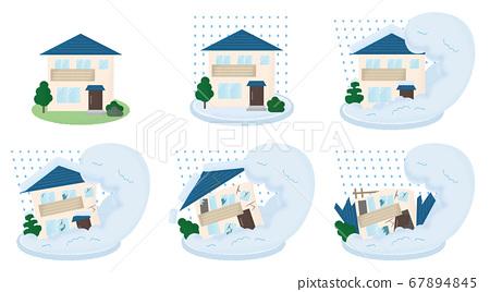 矢量圖組的房屋被雪崩損壞 67894845