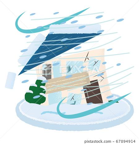 矢量圖的暴風雪損壞的房屋 67894914