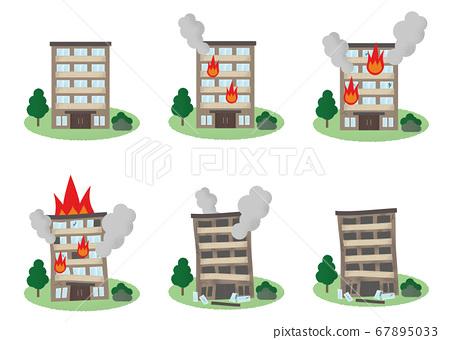 화재를당하는 아파트의 벡터 일러스트 세트 67895033