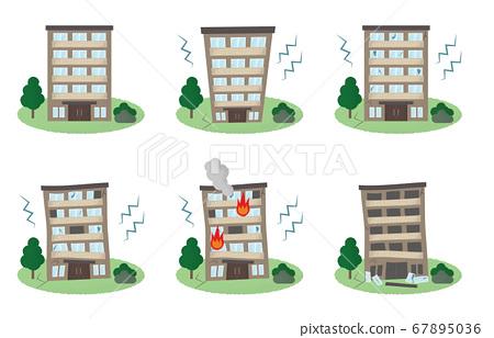 矢量圖集的公寓遭受地震 67895036