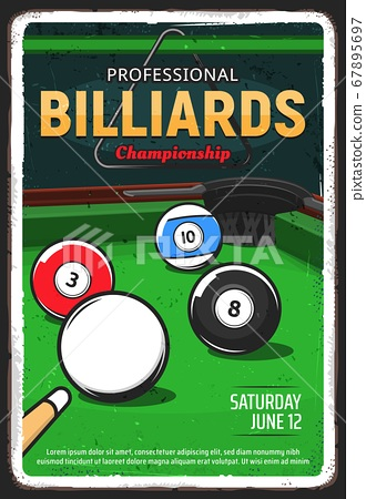 Billiard table, pool or snooker game ball and cue 67895697