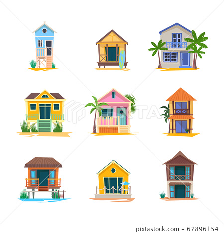 Surfer house or baywatch bungalow, beach building 67896154