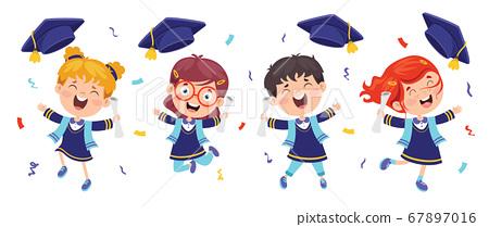 Cartoon Happy Kid In Graduation Costume 67897016