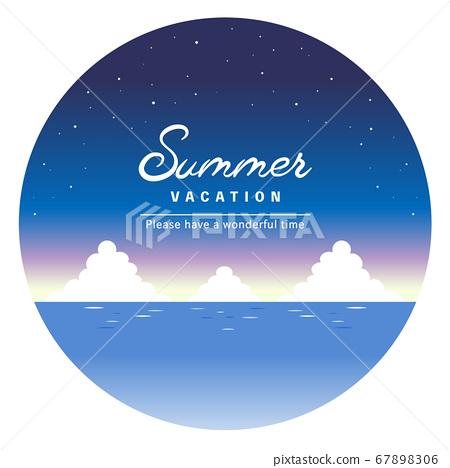 夜晚的星空和海洋的圓形框架[帶有標題字符] 67898306