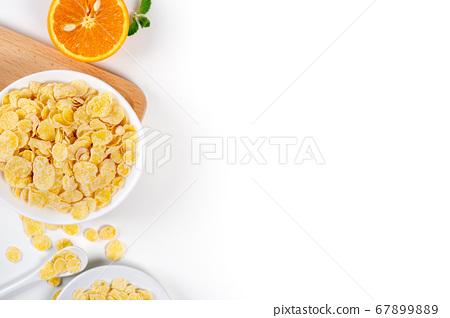 玉米片 甜點 早餐 牛奶 頂視圖 corn flakes with milk コーンフレーク 牛乳 67899889