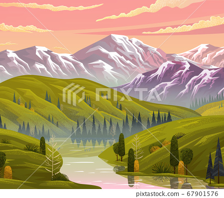 Beautiful view at evening summer scenery with pink sky, clouds, river, hills, trees, mountains 67901576