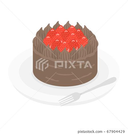 板上的巧克力蛋糕的插圖 67904429