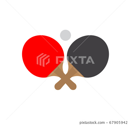 Vector flat two ping pong racket and ball 67905942