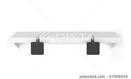 Blank wobbler tag on a market shelf mockup 67906648