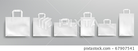 Vector mockup of white paper eco bags 67907541