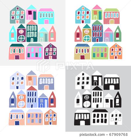 Set of cartoon colorful houses 67909768