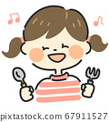 Girl holding a spoon and fork 67911527