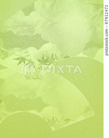 부채를 모티브로 한 녹색 배경 67912472