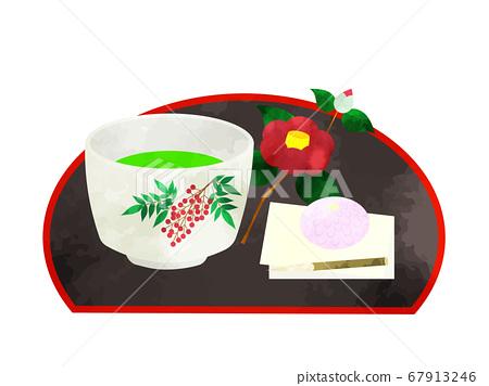 抹茶和日本甜點的茶道水彩風格插圖集 67913246