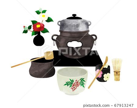 茶具的茶道水彩風格插圖 67913247