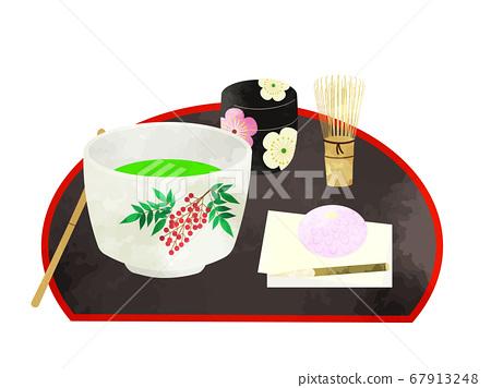茶道抹茶和日本甜點工具的水彩插圖 67913248