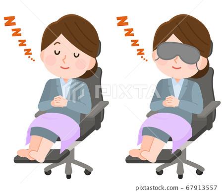 의자에서 낮잠을 취하는 여성 직장인 아이 마스크 일러스트 67913557