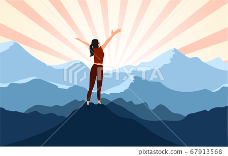 successful woman  with arms open on  top of mountain . 67913568