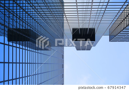 offices and glass buildings in the city of life, low angle view in Hong Kong Central financial zone  67914347