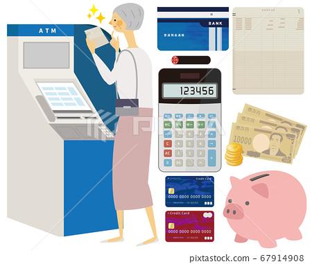 ATM에서 통장을 보는 할머니 67914908
