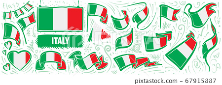 Vector set of the national flag of Italy in various creative designs 67915887