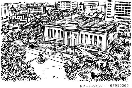 Drawing of the Hanoi opera house in Vietnam  67919066