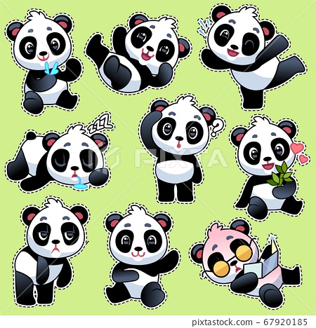 Set of stickers with cute pandas. Cute asian adorable bears in different poses and emotions, eating bamboo stem, playing and sleeping, flat cartoon vector character collection 67920185
