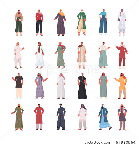 set arabic men women in traditional clothes arab male female cartoon characters collection 67920964