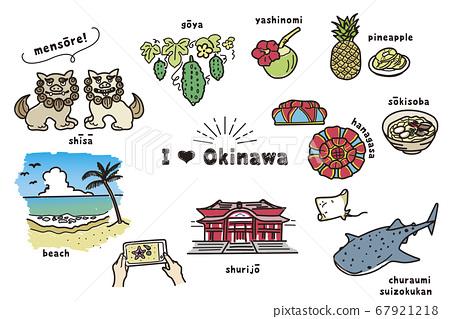 Hand-drawn Okinawa illustration (color) 67921218