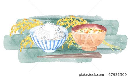 米,味mis湯和米耳的水彩畫 67921500